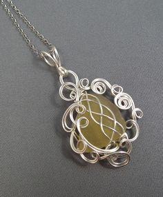 Beach glass wire pendant