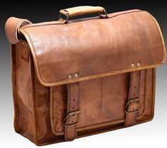 Mens Leather Messenger Bag Leather Briefcase by ModernCrafter23