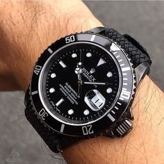 """All black Rolex Submariner ⚫️ Photo by @honolulutimeco"" Photo taken by @themanliness_official on Instagram, pinned via the InstaPin iOS App! http://www.instapinapp.com (09/14/2015)"