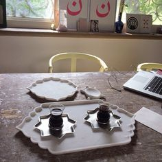 Turkish coffee break in our ecru office in Jaipur going over marble samples. NK. #ecru #coffee #marble #sampling #home #decor #interiors #accessories #glass #istikana #jaipur #india