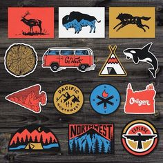 """Really like Sam Larson's Art/Concepts; His creative vision suits our brand and the image concept we would be looking for on our flag. Only flaw is he is a little """"cartoony"""" if you will; We like these images Arrowheads/Bison/Teepee/Mountains etc. Laptop Stickers, Cute Stickers, Badge Design, Logo Design, Pin And Patches, Logos, Sticker Design, Hand Lettering, Illustration"""
