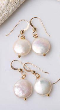 Set of gifts,fresh water Coin Pearl Earrings,Bridal… Pearl Jewelry, Wire Jewelry, Wedding Jewelry, Beaded Jewelry, Jewellery Box, Jewellery Market, Skull Jewelry, Hippie Jewelry, Jewlery