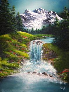 Easy Landscape Paintings, Waterfall Paintings, Scenery Paintings, Mountain Paintings, Nature Paintings, Watercolor Landscape, Beautiful Paintings, Landscape Art, Beautiful Landscapes