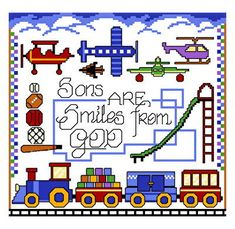 Boy Smiles - cross stitch pattern designed by Ursula Michael. Category: Sayings.