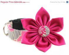 BOGO SALE Pink Floral Dog Collar Flower Set   by BowWowCouture, $34.94