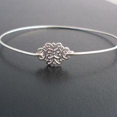 Silver Filigree Bangle Bracelet Saskia Silver by FrostedWillow, $14.95