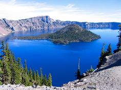 Crater Lake in Oregon.  Originally Mt. Mazama It really is that blue! Not kidding.