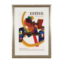 Maurice Estève was influenced by Léger and Bonnard, but in later years, the Surrealist and Abstract Expressionist movements captured his attention. His stylized figure, still life, and landscape compositions with strong colors gradually became completely abstract, with tight-knit interlocking shapes in rich, bold colors. His paintings established a new pictorial language: lyrical abstractions with the aim of depicting form and color with an almost poetic attitude.