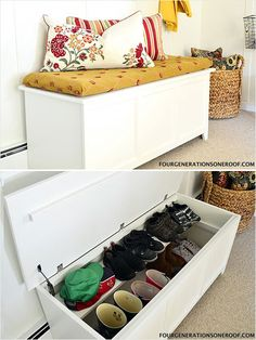 Repurposed Toy Chest With Added Shelf http://www.ivillage.com/think-outside-shoe-box-9-genius-shoe-storage-solutions/7-a-551085