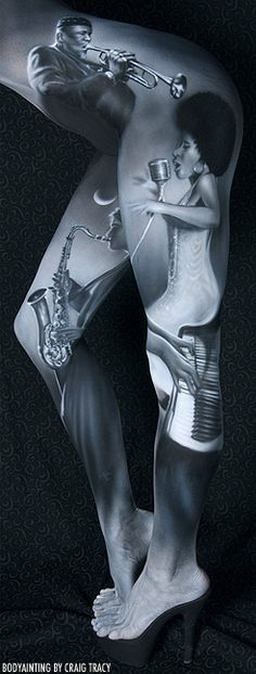 """""""Quartet"""" - Body Painting by Craig Tracy, designed in 2005 and painted in Photo by Robin Walker. Original in colour. Craig Tracy, Sound Sculpture, Painting Tattoo, Painting Art, Paintings, Illusion Art, Human Art, First Art, African American Art"""