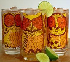 Vintage Owl Glasses! LOVE.