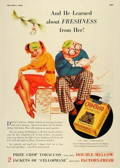 1936 Ad Old Gold Cigarettes Mistletoe Art George Petty - Original Print Ad: