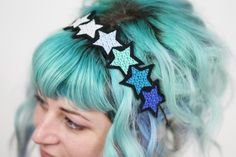 Blue Gradient Stars Headband, Blue, Turquoise, Silver, White £16.00