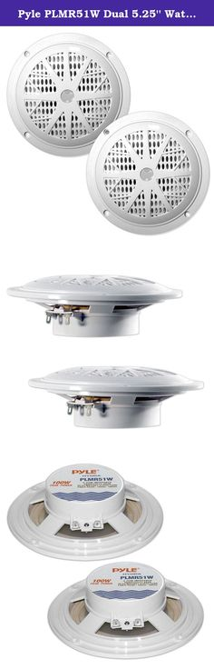 """Pyle PLMR51W Dual 5.25'' Waterproof Marine Speakers, 2-Way Full Range Stereo Sound, 100 Watt, White (Pair). Pyle's Hydra series speakers are waterproof and designed for use in your boat, on the dock, by the pool, or simply mounted outside. They're designed with rust-proof mesh covers for quality protection. The PLMR51B is a white 5.25"""" dual-cone, full-range speaker suitable for marine use. They're rated at 100 watts for big power. The polypropylene cone accurately reproduces sound, and…"""