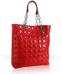Christian Dior Red Patent Leather Quilted Tote Bag