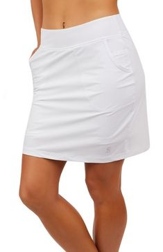 "ESSENTIALS White Sofibella Ladies 18"" Pull On Golf Skort"