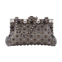 Dolce & Gabbana Studded & Swarovski Crystal-Embellished Vanda Clutch in gunmetal color with chain strap  at Barneys.com Made in Italy.