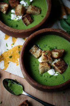 Fresh Spring Pea Soup with Crème Fraiche and Garlic Croutons at thiswildseason.com