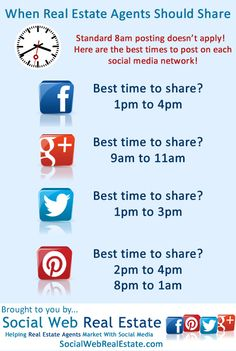 Great infographic about the right timing for your  #socialmediamarketing efforts.