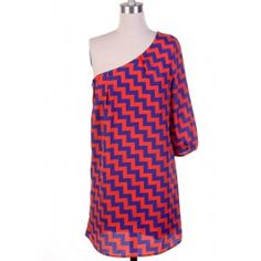 NOT available but CUTE Orange and Royal Blue Zig Zag Print One Shoulder Dress