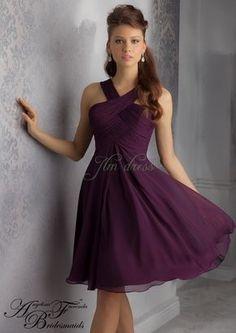 A-line Halter Empire Ruched Knee Length Chiffon Eggplant Sleeveless Prom Dress/Bridesmaid dress AF 204340