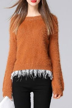 Chic Long Sleeve Ostrich Leather Spliced Fuzzy Pullover Mohair Sweater For Women