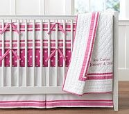 Pottery Barn Khaki Harper Pink Cream Changing Table Runner Diaper Organizer