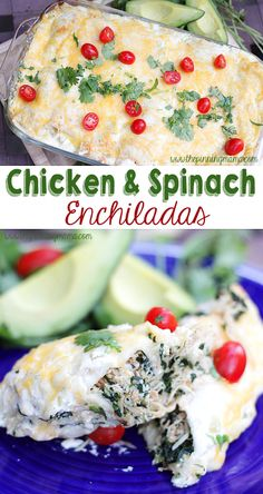 These chicken and spinach enchiladas are packed full of nutrition and so DELICIOUS! These chicken and spinach enchiladas are packed full of nutrition and so DELICIOUS! Slow Cooker Recipes, Crockpot Recipes, Chicken Recipes, Cooking Recipes, Healthy Recipes, Taco Chicken, Cockpot Chicken, Chicken Verde, Freezer Recipes