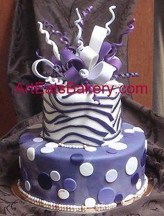 Purple and gold custom zebra and polka dot fondant birthday cake, via Flickr.