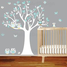 Owl tree wall decal with owls,butterflies,and birds,large tree decal boy baby chevron pattern