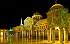 Umayyad Mosque, Syria.  The Great Mosque of Damascus is easily one of the finest buildings in the Islamic world. Finished in 715 under the rule of the Umayyad Caliph al-Walīd I, it is based around a vast courtyard some 157m by 100 m in size. The Shrine of Saint John the Baptist (Prophet Yahya) is believed to contain the man's head