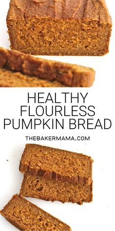 Pumpkin bread can be healthy! just 6 ingredients is all it takes to make this healthy hearty loaf thats naturally sweetened with maple syrup pumpkinbread flourlessbread detox turmeric lentil soup Healthy Pumpkin Bread, Gluten Free Pumpkin Bread, Gluten Free Baking, Gluten Free Desserts, Healthy Pumpkin Desserts, Canned Pumpkin Recipes, Flourless Dessert Recipes, Pumkin Bread, Pumpkin Oatmeal Muffins