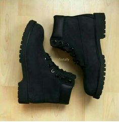 All black timbs Black Timbs, Black Boots, Black Shoes For Men, Black School Shoes, Timberland Boots Outfit, Timberlands Shoes, Black Leather Timberland Boots, Sneakers Fashion, Fashion Shoes