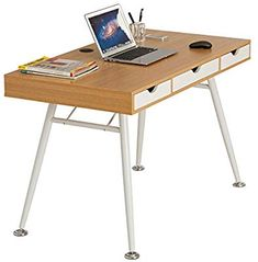 LANGRIA Modern Minimalist Large Computer Desk with 2 Drawers 2 Built-in Storage Compartments Sturdy Metal Legs Laptop Study Workstation for Home Office x 23 x in, Natural Wood & White) Large Computer Desk, Laptop Desk, Computer Desks, Desk Grommet, Retro Desk, Office Workstations, Laminated Mdf, Home Desk, Wood Glass