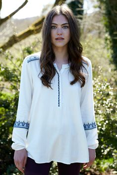 Plain boho style blouse in classic ivory cream. This is your go to top for relaxed beautiful style. Loving the embroidery stitching details. Flattering soft shape. Simply perfect with our jeans and ankle boots.