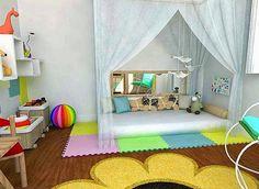 Love the idea of the curtains over the floor bed Toddler Floor Bed, Diy Toddler Bed, Toddler Rooms, Baby Floor Bed, Baby Bedroom, Nursery Room, Girls Bedroom, Montessori Bedroom, Little Girl Rooms