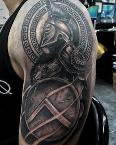 Warrior Tattoo Sleeve, Shoulder Armor Tattoo, Warrior Tattoos, Cool Half Sleeve Tattoos, Full Sleeve Tattoo Design, Tattoos For Guys, 3d Tattoos, Tattoo Ink, Arm Tattoo