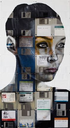 "Nick Gentry (painter) created ""Monarch,"" a portrait, using oil paint and computer disks on wood. Gentry used these materials to emphasis the importance of personal objects and recycling. Gentry's work is an example of post-modernism because it is a portrait of a real person but is painted with oil paint making it look realistic but is not real. I enjoy Gentry's work because of the interesting materials used and the way he goes about executing the product."