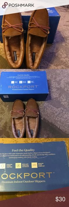 Brand New Rockport Indoor/outdoor Slippers Rockport Indoor/outdoor slipper, geuine suede leather, non-slip traction outsoles, memory foam comfort. Perfect gift to any man. Rockport Shoes Loafers & Slip-Ons