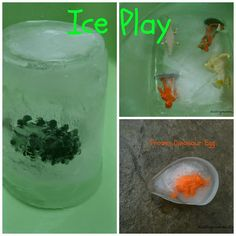 Ice Play and Frozen Dinosaur Eggs from Dabbling Momma Preschool At Home, Preschool Themes, Craft Activities For Kids, Preschool Activities, Play Frozen, Baby Programs, Fun Learning, Learning Tools, Early Learning