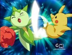 Pikachu use Iron Tail against Roselia.