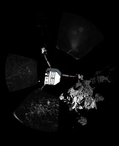 The European Space Agency's Philae lander took this first panorama from the surface of Comet 67P/Churyumov%u2013Gerasimenko after its historic landing on Nov. 12, 2014. The body of the lander is superimposed on the image.[See Space.com's full coverage.]