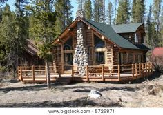 Wood Cabin in the Mountains | Picture or Photo of Log cabin in the woods in the mountains of Idaho