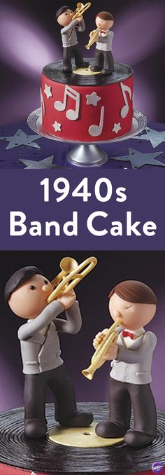 How to Make a Cake - This big band fondant cake is a note-perfect celebration of the fabulous swing band era! Check out the great detail on the trumpeter and trombonist toppers. Classy Christmas, Christmas Music, Music Cakes, Wilton Cake Decorating, Wilton Cakes, Retro Recipes, Christmas Cupcakes, Creative Cakes, Trumpet
