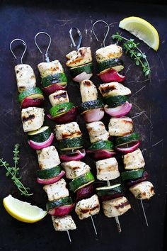 Grilled Chicken and Zucchini Kebabs Recipe on twopeasandtheirpod.com Easy…
