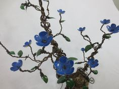 Barbed Wire Flowering Shrubbery With Blue Forever by thedustyraven, $149.00