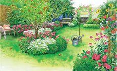 Unsere erste Gestaltungsidee verwandelt die kahle Rasenfläche in einen blühenden Landgarten