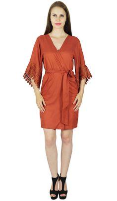 843f91276e Bimba Women Short Rayon Robe Lace Sleeve Getting Ready Wrap Bridesmaid  Gift- Bro Rayon Robe Lace
