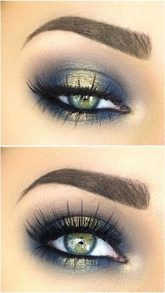 Blues of the Sea eye makeup look, list of makeup products, makeup hacks, blue and gold eyeshadow, smokey eye makeup, eye makeup ideas, eye makeup tutorial. #goldeyemakeup #eyemakeup