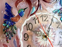 Часы для дома ручной работы. Заказать панно - часы  из стекла, фьюзинг Райские птички. Лилия  Горбач-ФЬЮЗИНГ. Ярмарка Мастеров.